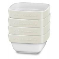 Набор керамических мини чаш квадратных для запекания (4шт.), 4х0,22 л (кремовый), KitchenAid KBLR04RMAC
