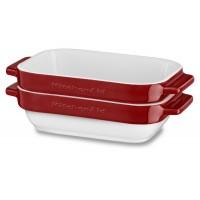 Набор керамических чаш прямоугольных для запекания (2шт.), 2х0,45 л (красный), KitchenAid KBLR02MBER