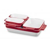 Набор керамических кастрюль, 5 шт в наборе, красный KitchenAid, KBLR05SBER