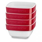 Набор керамических мини чаш квадратных для запекания (4шт.), 4х0,22 л (красный), KitchenAid KBLR04RMER