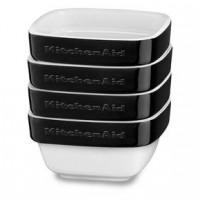 Набор керамических мини чаш квадратных для запекания (4шт.), 4х0,22 л (черный), KitchenAid KBLR04RMOB