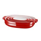 Набор керамических кастрюль (4 шт.), (красный), KitchenAid KBLR04NS
