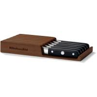 Набор из 6 ножей для стейков - подставка из акации KitchenAid, KKFTR06SKWM